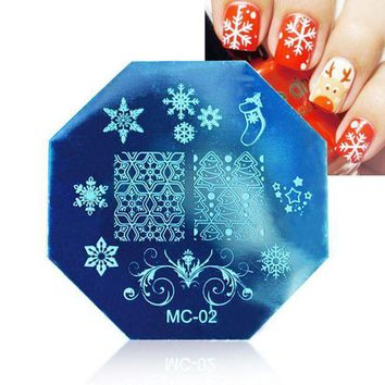 MDIGIJ5 Christmas DIY Image Stamp Stamping Plates Manicure Template Nail Art Plate