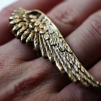 Angel Wing Ring  Double 2 Finger in Gold by robinhoodcouture