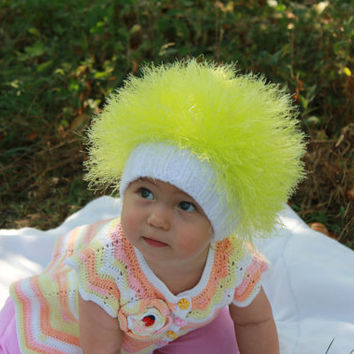 Baby hats / Cabbage Patch Kids Hat  / Beanie Wig  / Children  fuzzy hat  / Baby costume / Halloween Costume / Neon yellow
