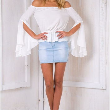 White Flare Sleeve Off-Shoulder Chiffon Blouse