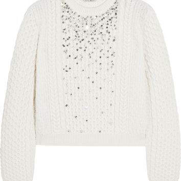 Miu Miu - Crystal-embellished cable-knit sweater