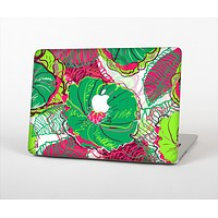 The Vibrant Green & Coral Floral Sketched Skin Set for the Apple MacBook Air 11""
