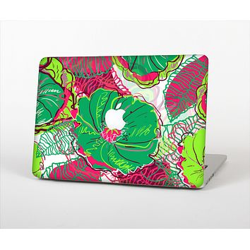 "The Vibrant Green & Coral Floral Sketched Skin Set for the Apple MacBook Pro 13"" with Retina Display"