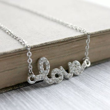 Tiny Silver Love Necklace with Clear Crystals - Minimalist Jewelry - Dainty Romantic Jewelry - Valentine's Day