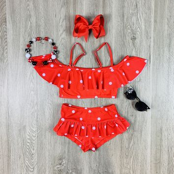 RTS Red & White Polka Dot & Hearts 2 pc Swimsuit D84