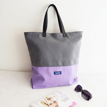 Large canvas tote bag shopping bag casual tote school bag pastel purple gray wool book bag tote black genuine leather strap for women ooak