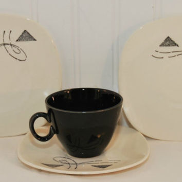 Edwin Knowles Flair Pattern Cup Saucers (c. 1960) Black Triangles and Lines, Geometric Design, Mid Century Modern Dinnerware