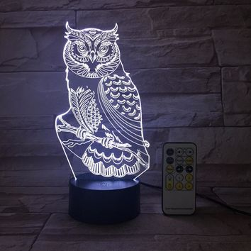 Owl 3D LED Night Light Lamp