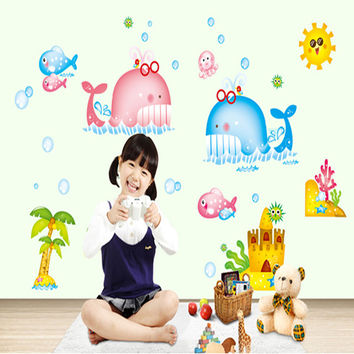 New cute whale children room household adornment wall stick mobile stick on the wall SM6