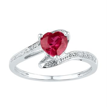 Sterling Silver Women's Heart Lab-Created Ruby Solitaire Diamond Ring 1-1/10 Cttw - FREE Shipping (US/CAN)