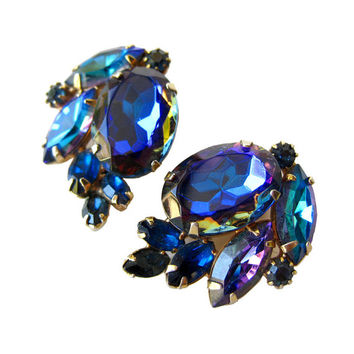 Brilliant Alice Caviness Blue Aurora Borealis Rhinestone Earrings / Clip On Earrings / Vintage Earrings / Costume Jewelry