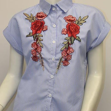 Embroidered Button Up Top