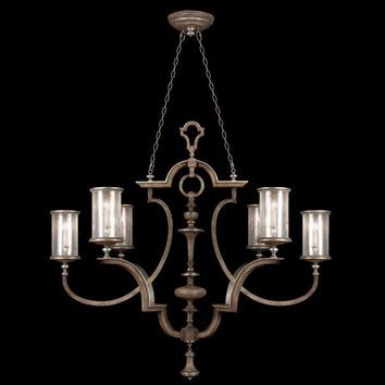 Fine Art Lamps 806740ST Villa Vista Six-Light Chandelier in Hand Painted Driftwood Finish On Metal with Silver Leafed Accents with Hand Blown Seedy Glass Shades