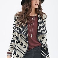 FOREVER 21 Geo-Patterned Shawl Collar Cardigan Black/Taupe