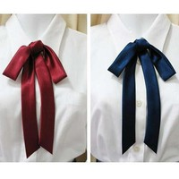JK Japanese School Uniforms quality satin ribbon bow tie lengthening lead multicolor flower tie