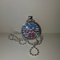 "Thing 1 Thing 2 1"" Pendant Necklace or Keychain free shipping Dr Seuss cat in the hat"