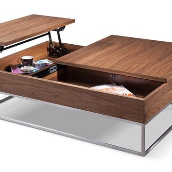 Modrest Telson Modern Walnut Coffee Table w/ Storage