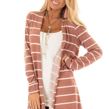 Rust Striped Open Front Knit Cardigan