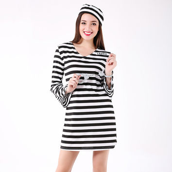 Stripes Halloween Costume Sexy Cosplay One Piece Dress [9208475908]