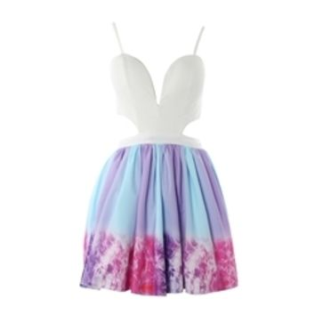 Sugar and Spice Dress - Galaxy ombre print skirt, Side and back cutouts, Sweetheart V neckline