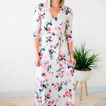 This Feeling Floral Maxi Dress in Cream