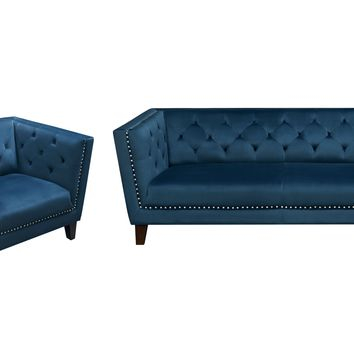 Grand Tufted Back Sofa & Chair 2PC Set with Nail Head Accent in Blue Velvet by Diamond Sofa