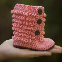 Baby Booties, Pink and Brown, Tall Furry boot shoe, newborn-6 months