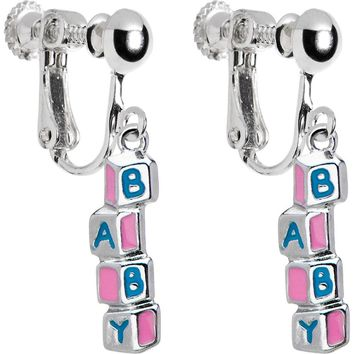 Baby Building Blocks Clip On Earrings