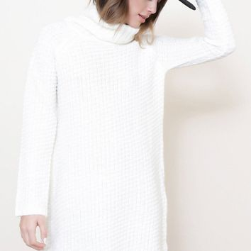 Snowflakes Oversized Sweater Dress - White