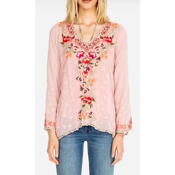 Johnny Was Cristabella Blouse~ Dusty Pink
