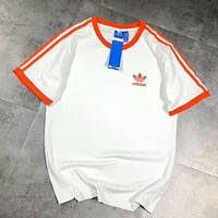 Adidas Trending Women Men Classic Orange Stripe Short Sleeve Casual T-Shirt Top White I-XMCP-YC