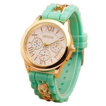 Womens Girls Silicone Gold Chain Strap Watch Best Gift