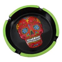 Black / Green / Red Day of the Dead Ashtray Sugar Skull