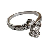 Fashion Plaza 18k White Gold Plated Use Austrian Crystal Love You Heart Ring R33 Size 8