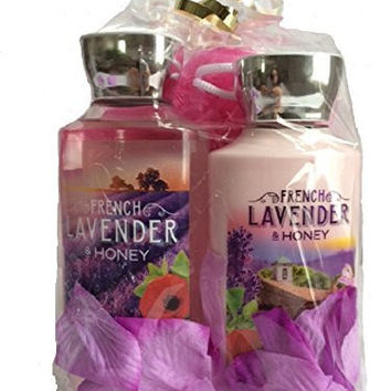Bath & Body Works 10 Oz French Lavender & Honey Shower Gel and 8 Oz French Lavender & Honey Shea & Vitamin E Body Lotion with Shower Pouf