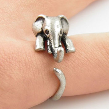 Elephant Wrap Ring - Antique Silver And Bronze Color
