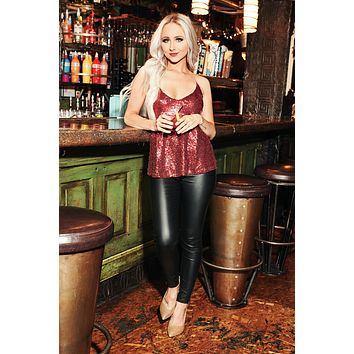 Never Settle Sequin Top (Burgundy)