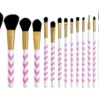 Makeup Brush Set (SUPER SALE) - 9pcs Professional Cosmetic Brushes Kit for Contour, Highlight, Powder, Eyeshadow, Concealer, Crease, Blending, Bronzer and Brow Make Up. Vegan Pink Brushes w/ Bag by Altair Beauty.