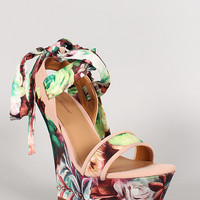 Dollhouse Satin Floral Print Ankle Wrap Platform Wedge