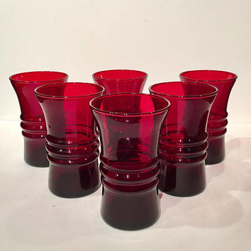 Anchor Hocking Royal Ruby Red Tumblers Set of 6, Banded Ruby Drinking Glasses