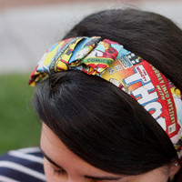Marvel Comic Book Headband with Bow by ElegantlyGeek on Etsy