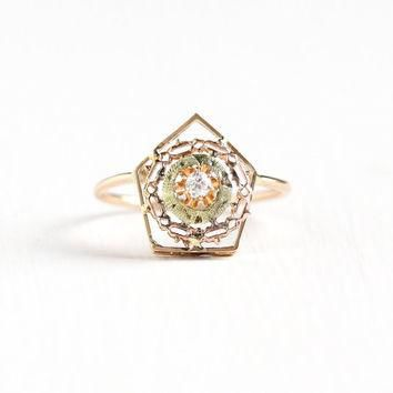 Antique Edwardian 10k Rose Yellow Gold Diamond Stick Pin Conversion Ring - Size 6 Vint