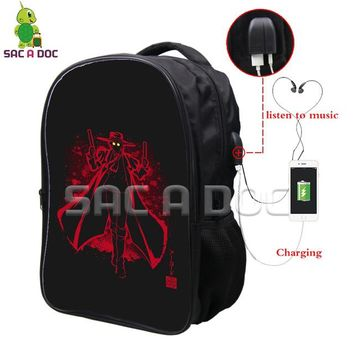 Anime Backpack School kawaii cute Hellsing Alucard Fluorescence Backpack Multifunction Travel Rucksack Teens Men USB Charging Headphone Jack School Bags AT_60_4