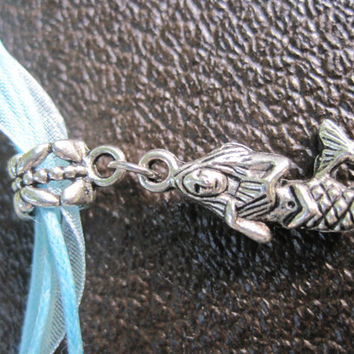 Mermaid charm necklace by CommodityOddity on Etsy