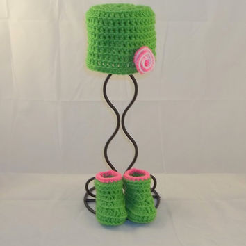 Preemie to Small Newborn Sized Lime Green and Pink Crocheted Hat and Booties Set - Baby Photo Prop Hat and Booties Set