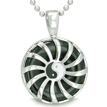 Positive Energy Sun Yin Yang Medallion Amulet Magic Circle Powers Onyx Lucky Charm Pendant Necklace
