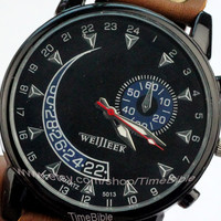 The stars watch, the male watch, surface of black, brown