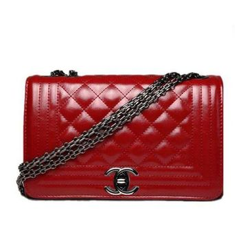CHANEL Popular Ladies Metal Chain Leather Handbag Buckle Satchel Shoulder Bag Crossbody Red I