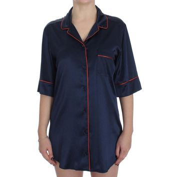 Dolce & Gabbana Blue Silk Stretch Sleepwear Shirt Blouse