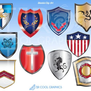Medieval Shields, Printable Digital Realistic Clip Art, Educational, Teachers, Fantasy, England, Paladins, Knight, Armor, Warrior, History